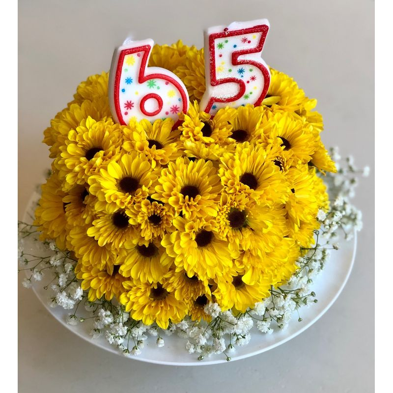 Description A Large Cake Style Arrangement With Flowers And Birthday