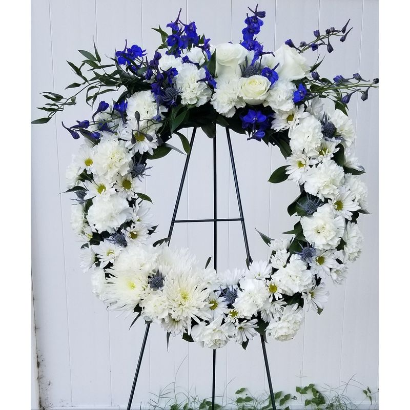 Royal Blue And White Wreath Lighthouse Flower Shop