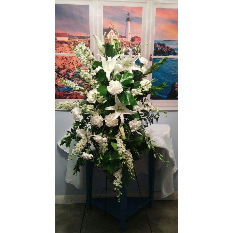 All White Easel Lighthouse Flower Shop