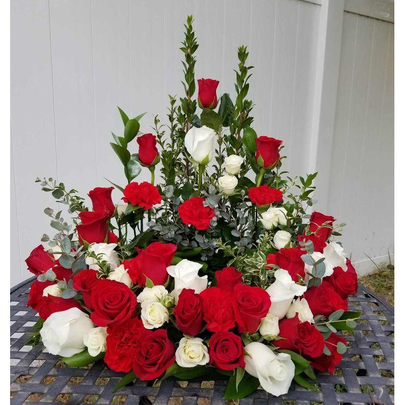 Garnet And White Cremation Wreath Lighthouse Flower Shop