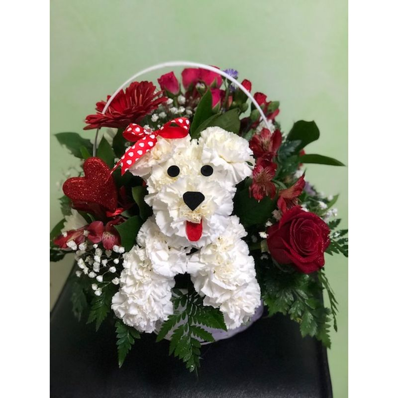 Puppy Love In A Basket Oak Lawn Il Flower Shop Local Florist Chicago Lucy S Flowers And Gifts