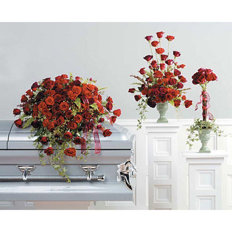 Loving Rose Casket Spray Trio Lush Flowers -Houston, TX