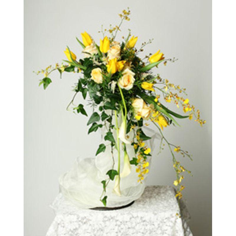 Yellow cascading bridal bouquet maureens designs more views mightylinksfo