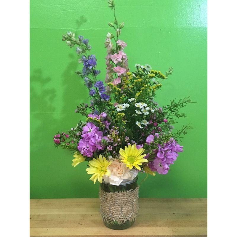 Mason jar wild flower bouquet Maxwell\'s Flowers & Gifts - Clare, MI ...