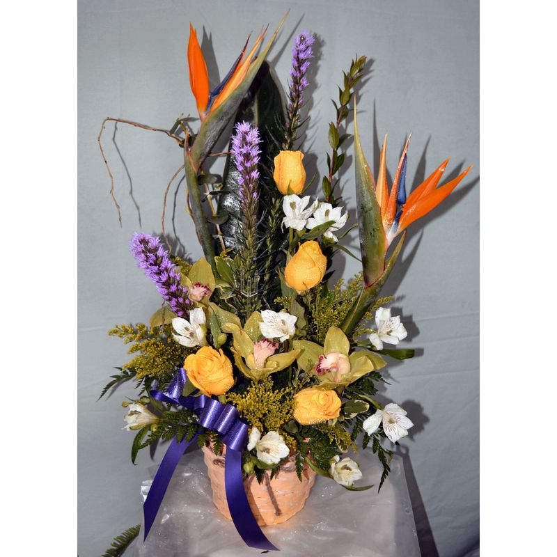 birds of paradise sympathy arrangement myflowerstogo