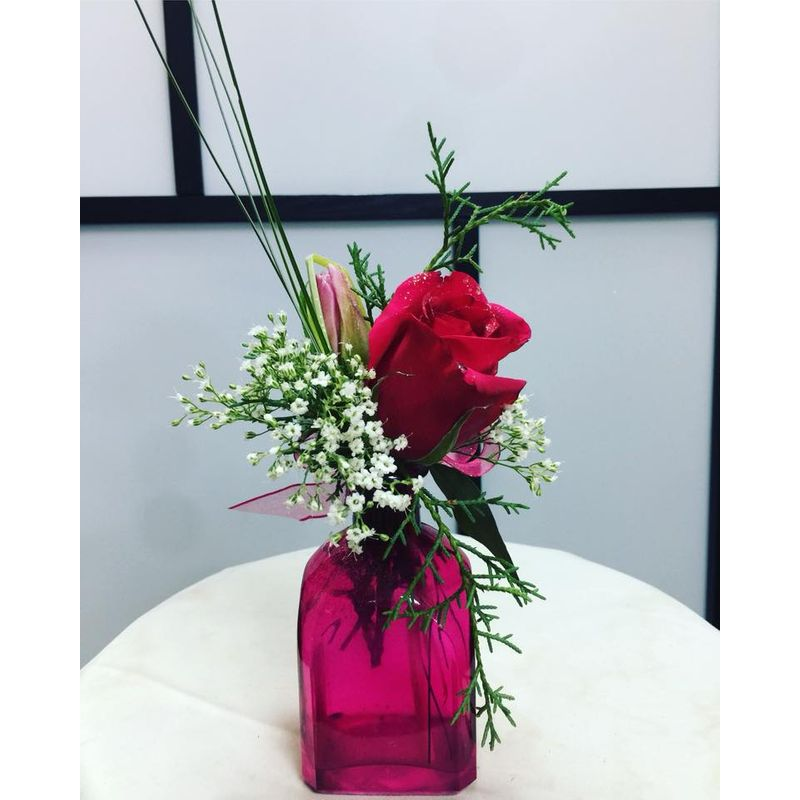 Valentines Day Special Single Rose In A Red Bottle Vase Myflowerstogo