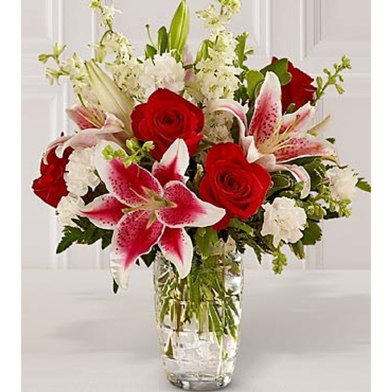 Roses And Stargazer Lilies #246 Joy Flower Shop