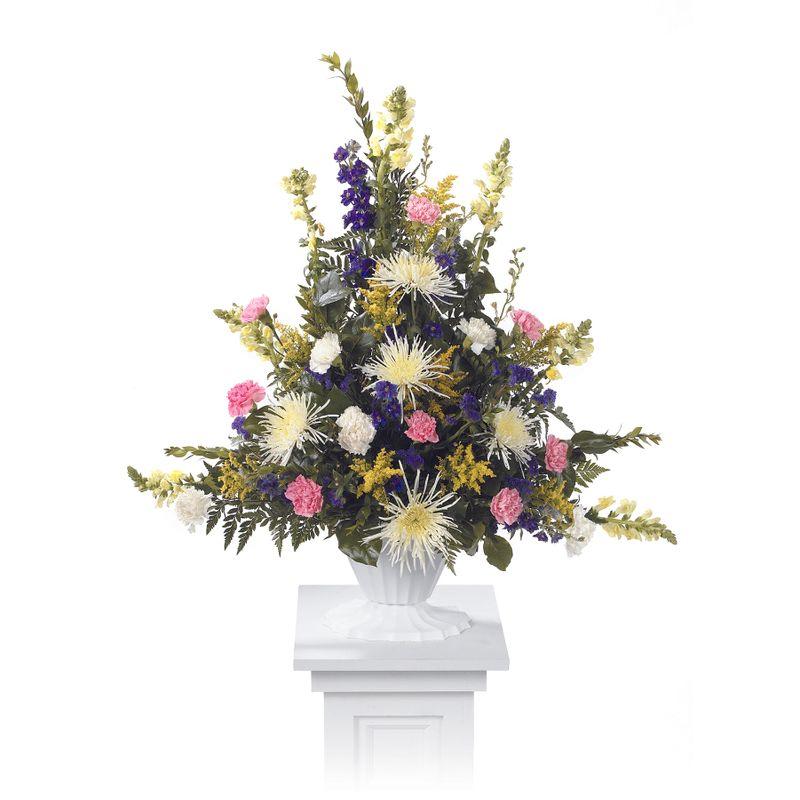 Spring mix pedestal arrangement ctt93 11 natures treasures florist more views mightylinksfo