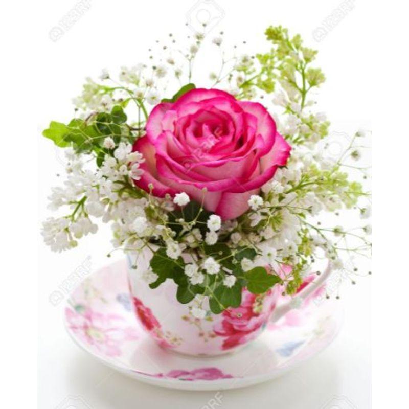Miniature Rose Tea Cup Bouquet
