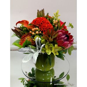 Luxurious and Rich tones of orange in Cohasset MA, Paul Douglas Floral Designs