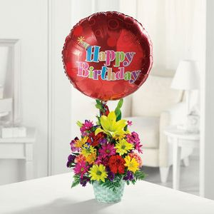Happy Birthday Basket in Cohasset MA, Paul Douglas Floral Designs