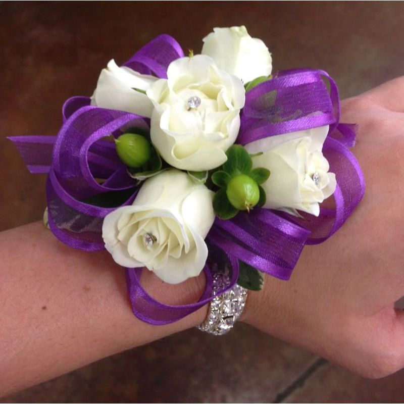Purple and white rose corsage petal town flowers wine country weddings more views mightylinksfo