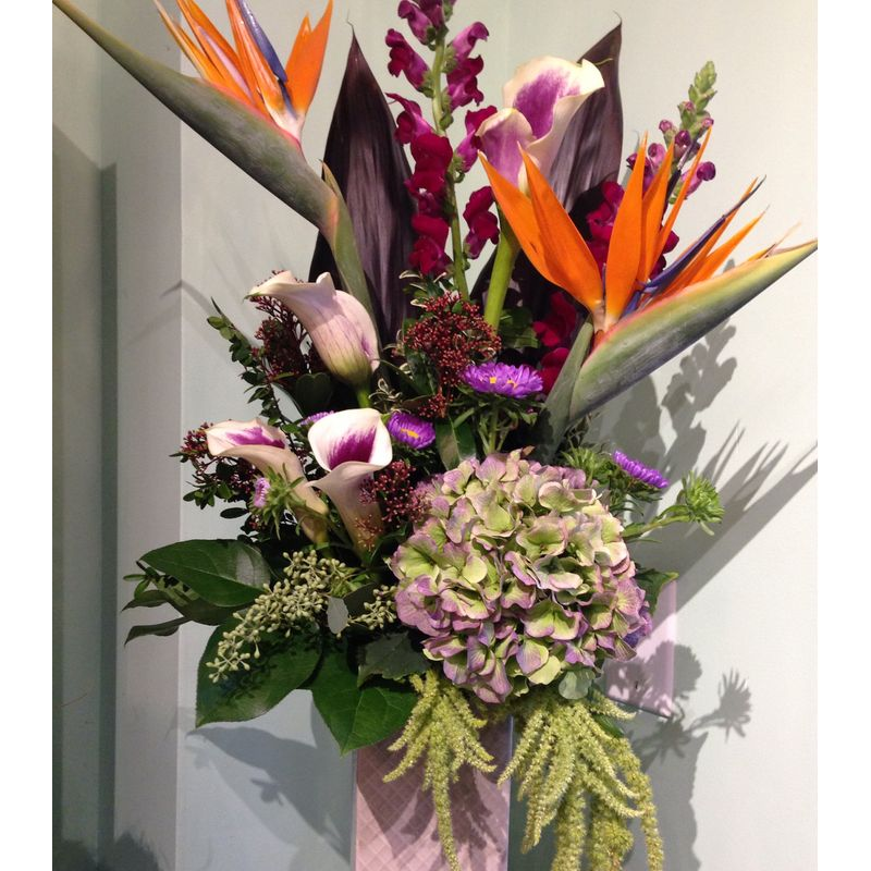 tropical paradise birds of paradise vase arrangement port moody bc