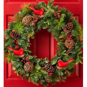 Christmas Faux Pinecone and Cardinal Wreath