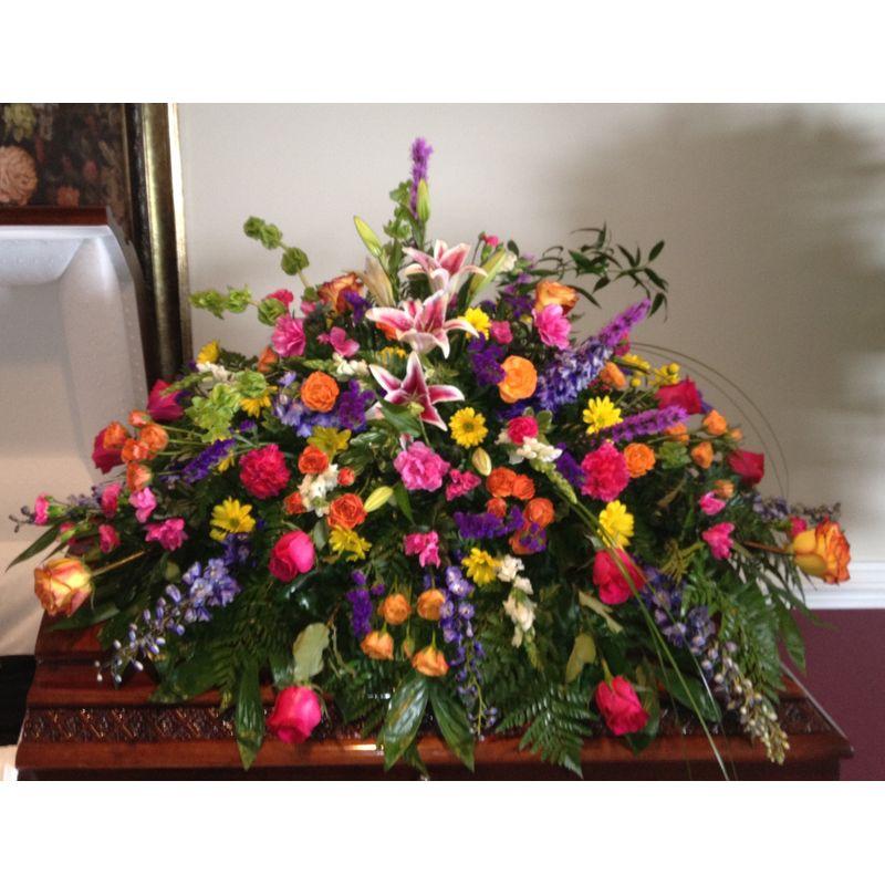 Colorful Casket Spray Backyard Garden Florist Roseboro Nc