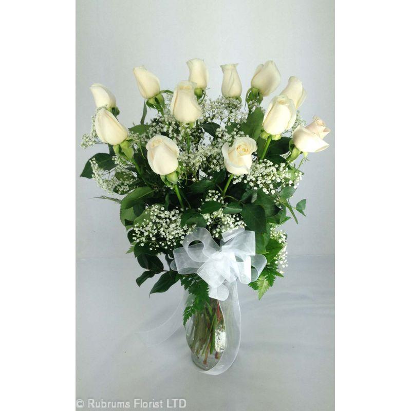 12 long stem white roses arranged rubrums florist ossining ny more views mightylinksfo
