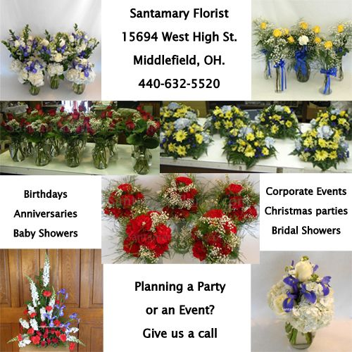 Santamary Florist in Middlefield Ohio is your premier florist for all Event Flowers. Whether it be Birthday, Anniversary, Graduation party event flowers, ...