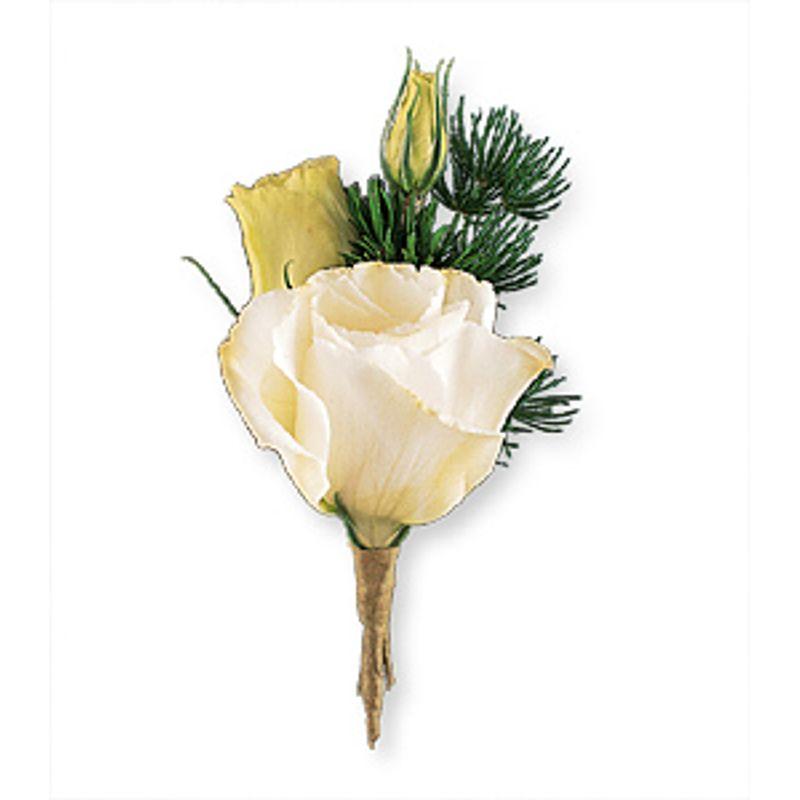 WHITE LISIANTHUS BOUTONNIERE Santos Florist