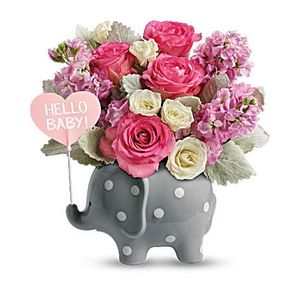New baby flowers and gifts a matter of taste georgetown tx 78628 hello sweet baby pink in georgetown texas a matter of taste negle Choice Image