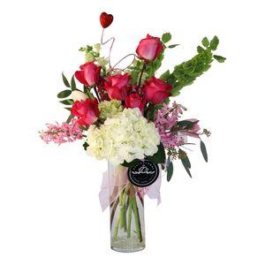 Half Dozen Roses with Spring Flowers in Starkville Mississippi, State Floral