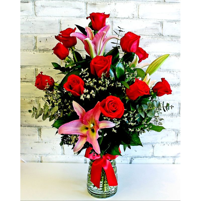 Dozen Red Roses With Lilies Simply Flowers, Laredo TX