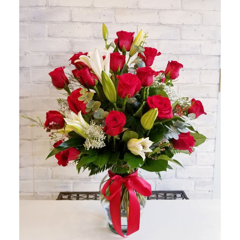 Two Dozen Red Roses With Lilies Simply Flowers, Laredo TX