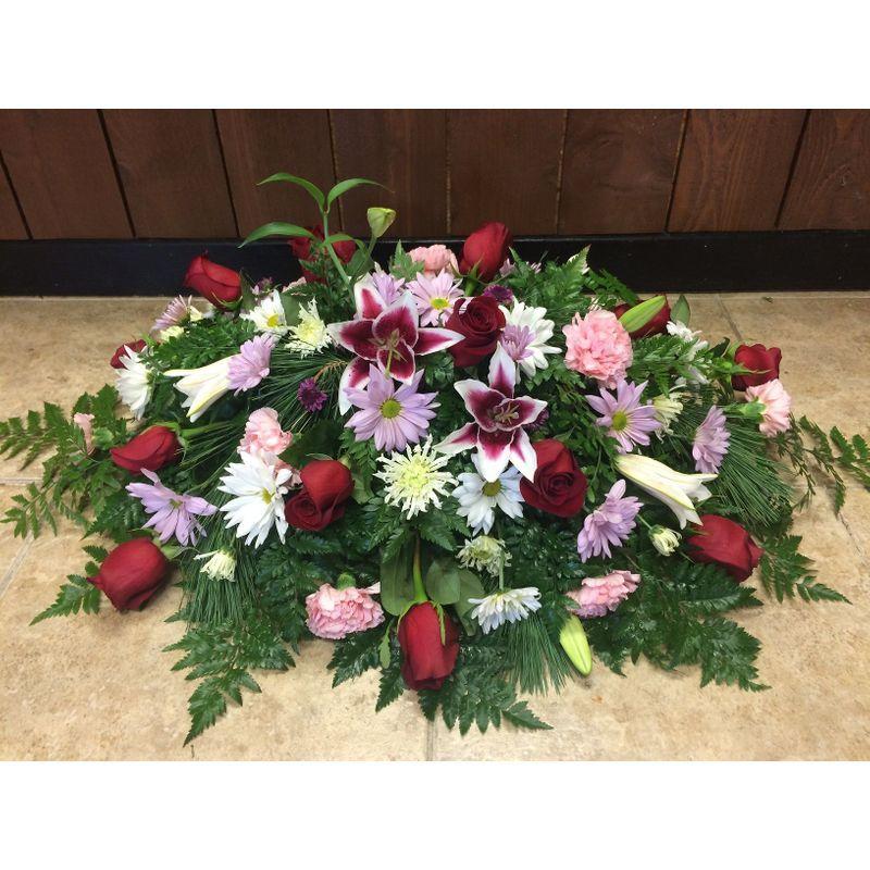 Lily, Rose, & Mum Casket Blanket Sunshine Designs Florist