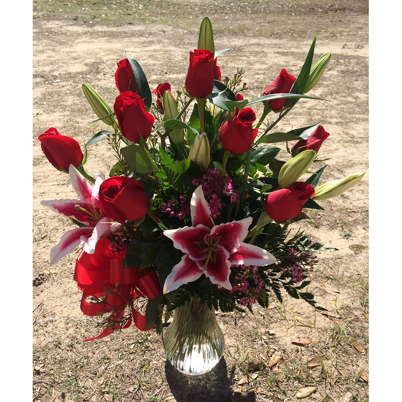 Ultimate Dozen Rose Arrangement With Stargazer Lilies (Red
