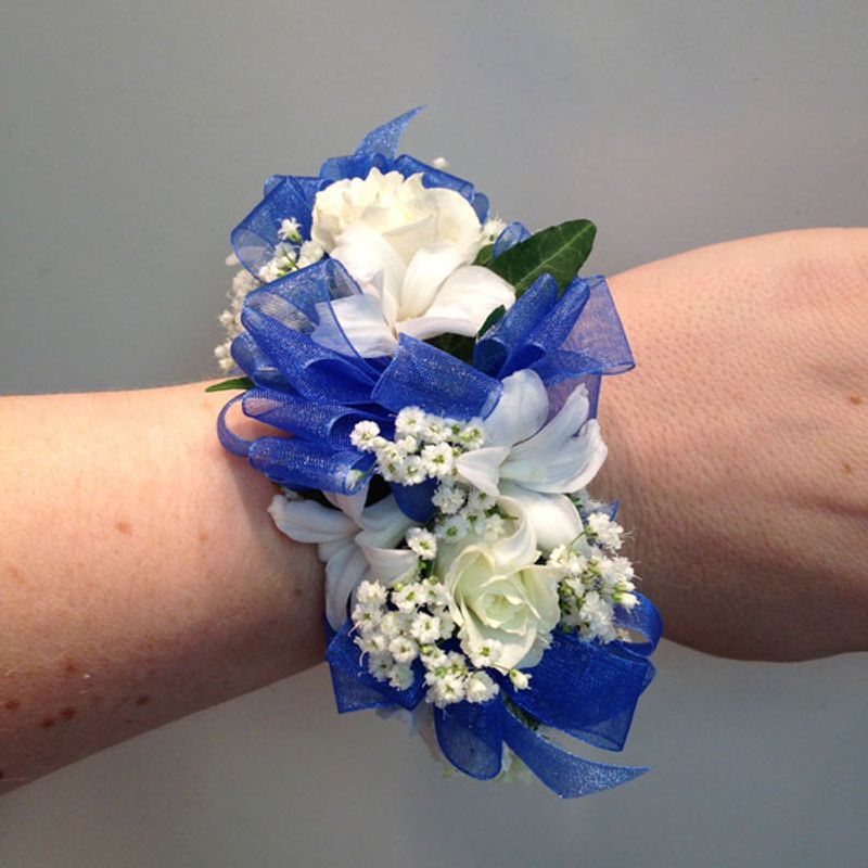Wedding Flowers Corsage Ideas: Royal Blue Bracelet Corsage A Blooming Basket Flowers