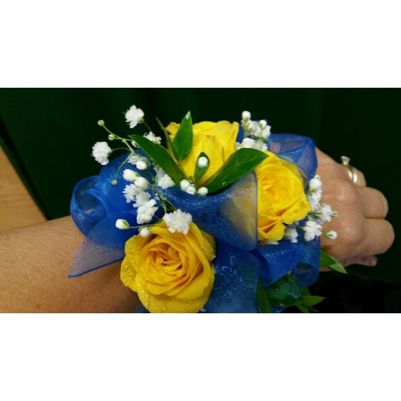 Yellow and blue corsage a blooming basket flowers gifts more views mightylinksfo