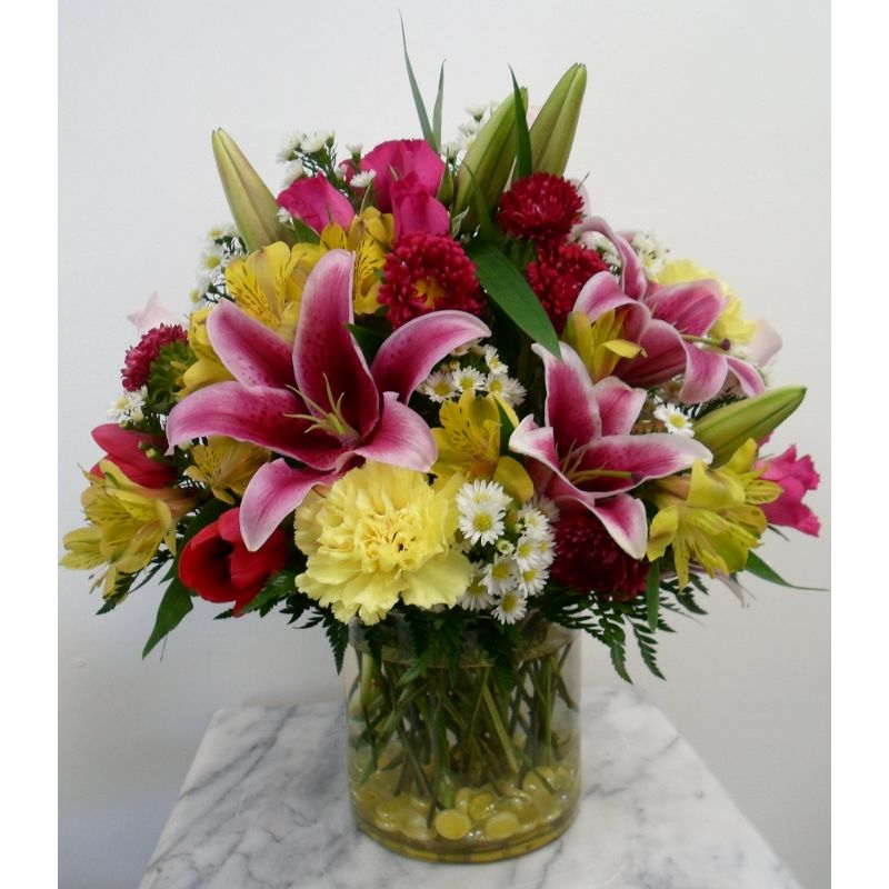 Pink And Yellow Delight The Flower Shoppe Poquosons Choice Florist