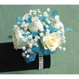 C12 White Roses And Beads Corsage The Garden Gate Yuba City Ca