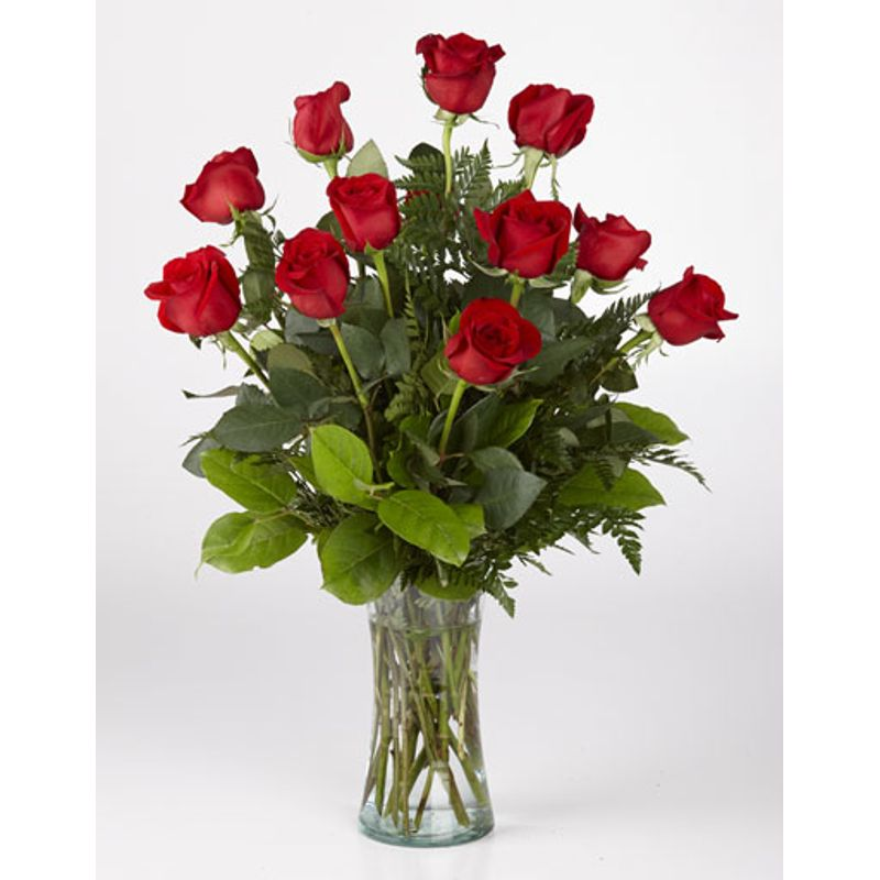 Dozen Long Stem Roses Vase Arrangement Waterville Florist