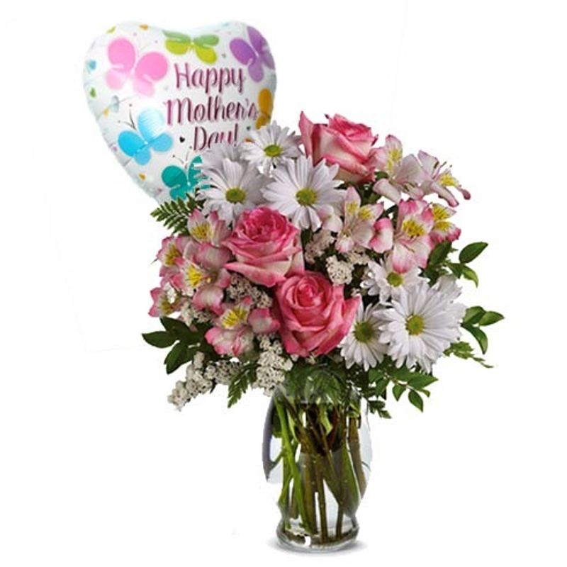 Mother\'s Day Rose And Balloon Bouquet Wildflower Florist & Coffee ...