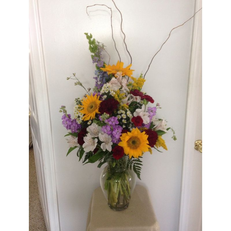 Sunflowers And Wildflower Vase Sandys Floral Gallery Wytheville