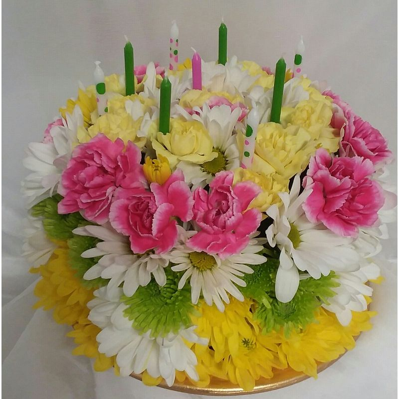 Description This Pretty Little Cake Is Made With Fresh Flowers