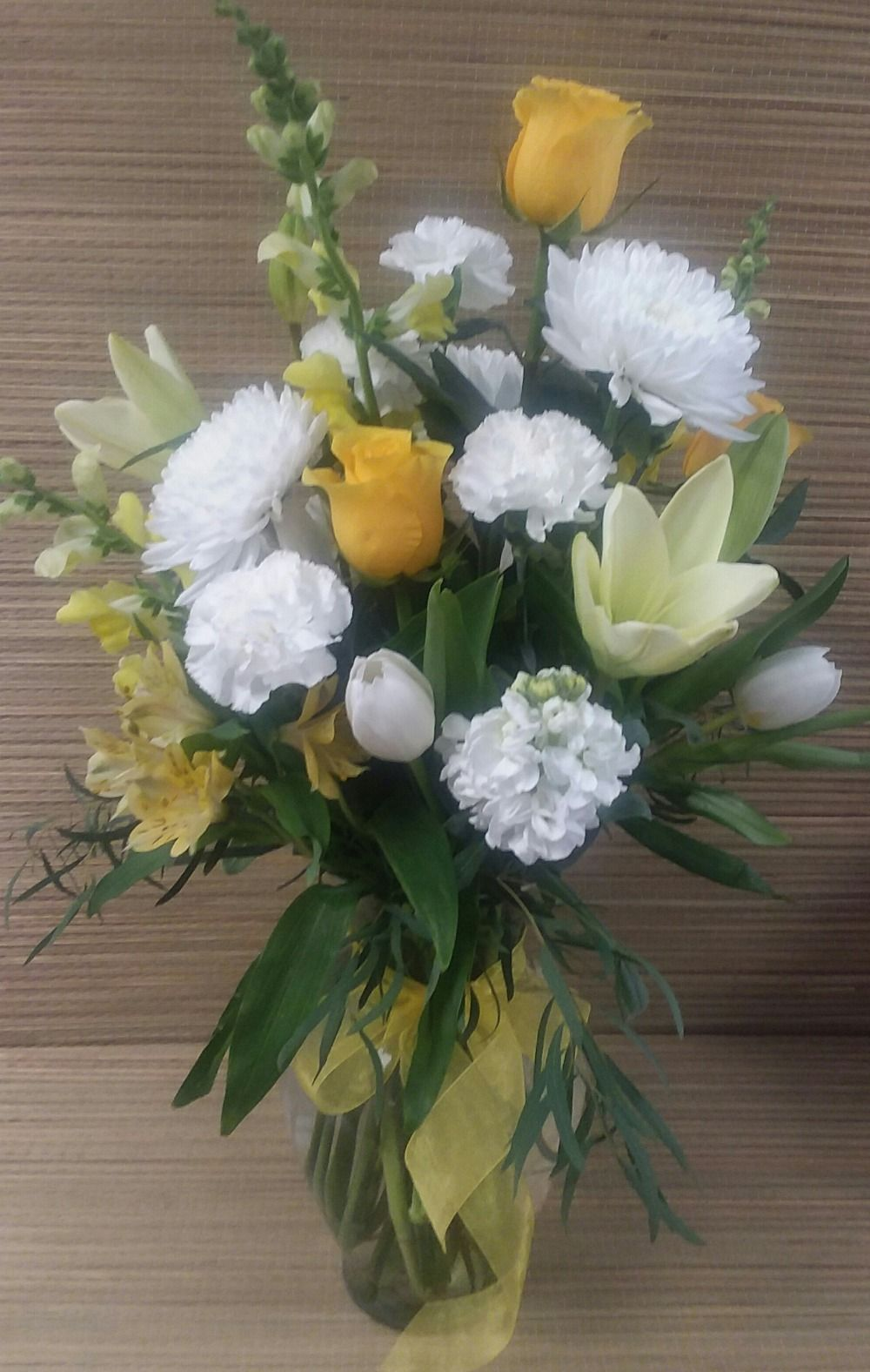 225 & Vase with yellow and white flowers Naturally Yours Designs-Fairview ...
