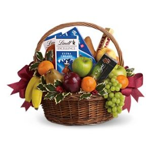 Fruits and Sweets Christmas Basket in North Tonawanda New York, Sherwood Florist