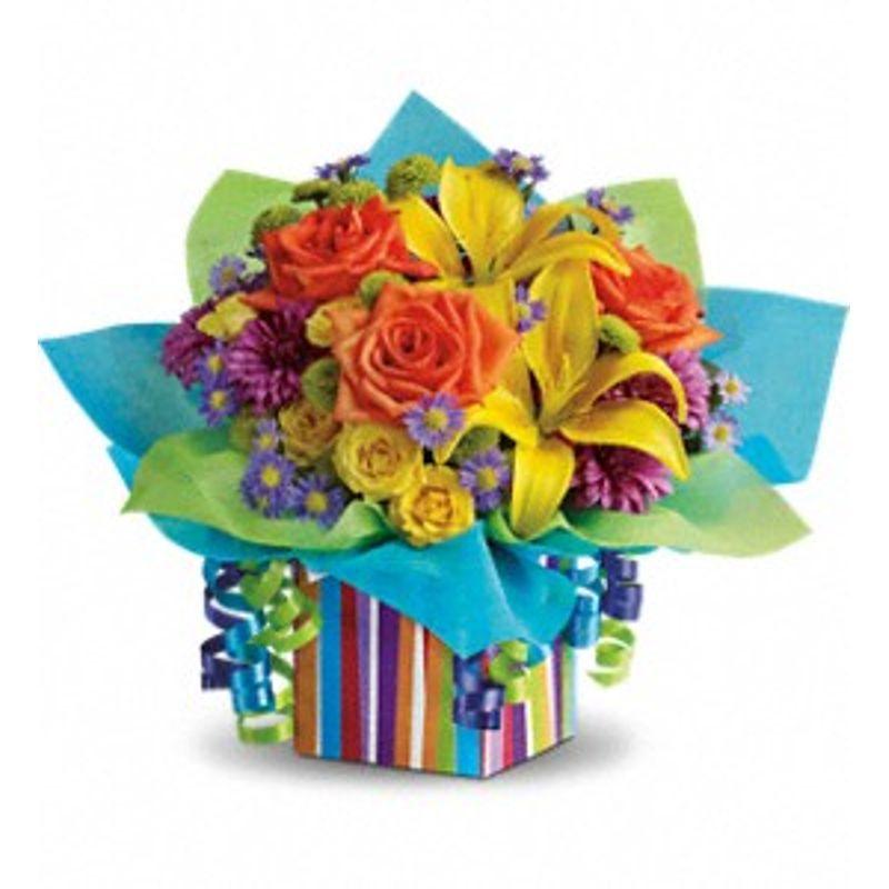 teleflora s rainbow present ceres ca florist 95307 hand creations