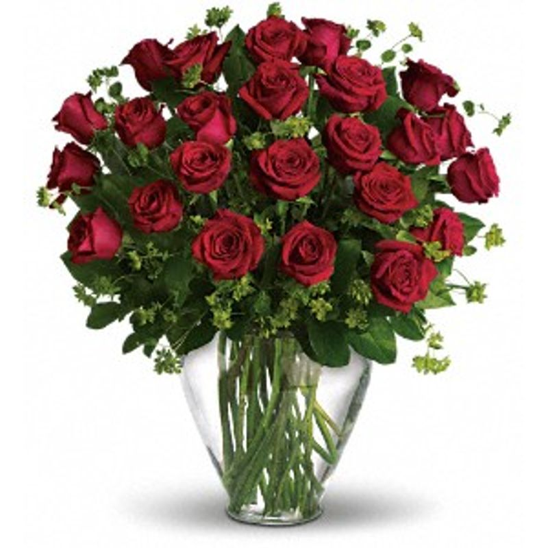 Two Dozen Roses In A Vase Quinns Blooms And Greenery Cobourg On
