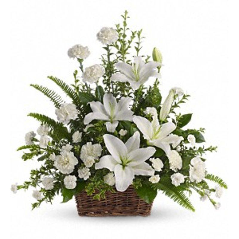 Peaceful white lilies basket homewood il florist homewood florist more views mightylinksfo