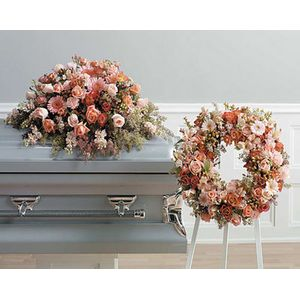 Sympathy and funeral wreaths hearts and crosses don lyn florist peach duo in zachary la don lyn florist mightylinksfo