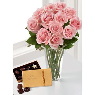 FTD® Pink Rose & Godiva Bouquet Crown Florals | Parkersburg